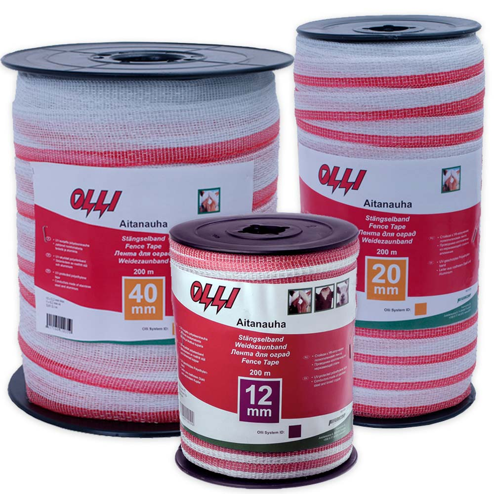 Olli punavalkoinen aitanauha 12 mm 20 mm ja 40 mm red and wgite fence tape